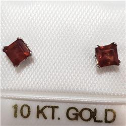 10K White Gold Garnet Earrings, Suggested Retail Value $100