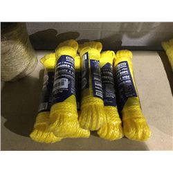 "Ben-Mor 1/4"" x 50' Braided Rope Polypropylene Lot of 6"