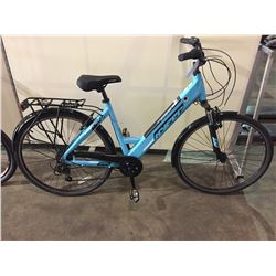 BLUE HYPER 6-SPEED FRONT SUSPENSION ELECTRIC ASSISTED CRUISER BIKE