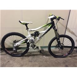 WHITE & GREEN CANNONDALE 18-SPEED FULL SUSPENSION MOUNTAIN BIKE W/ FULL DISC BRAKES