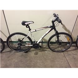 WHITE & BLACK REEBOK 21-SPEED FRONT SUSPENSION MOUNTAIN BIKE W/ FULL DISC BRAKES