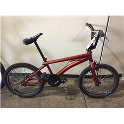 RED SCHWINN SINGLE SPEED BMX BIKE W/ GYRO BRAKING SYSTEM