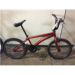 RED SCHWINN SINGLE SPEED BMX BIKE W/ GYRO BRAKING SYSTEM