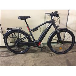 DARK GREY MOUSTACHE 10-SPEED ELECTRIC ASSISTED FRONT SUSPENSION CRUISER BIKE W/ FULL DISC BRAKES