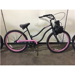 BLACK & PINK AERO SINGLE SPEED CRUISER BIKE W/ FRONT MOUNTED GAS ENGINE
