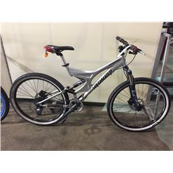 SILVER SPECIALIZED 8-SPEED FULL SUSPENSION MOUNTAIN BIKE W/ FULL DISC BRAKES