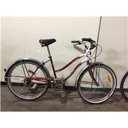 2 BIKES - RED SUPERCYCLE 6-SPEED CRUISER BIKE, SILVER MIELE 18-SPEED CRUISER BIKE