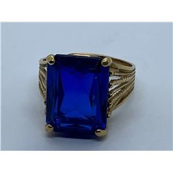 10K RING WITH BLUE STONE