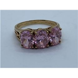 10K RING WITH PINK ZIRCONIAS