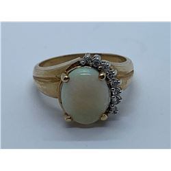 10K RING WITH OPAL AND DIAMONDS