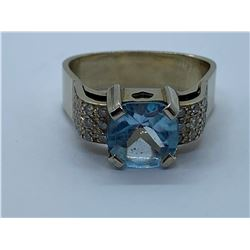 14K RING WITH BLUE TOPAZ AND DIAMONDS
