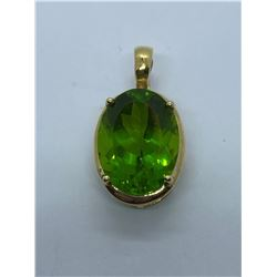 14K PENDANT WITH GREEN STONE