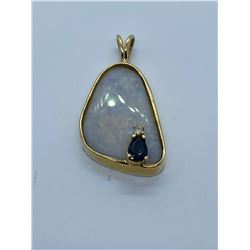 14K PENDANT WITH OPALS AND DIAMOND