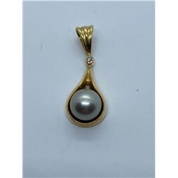 14K PENDANT WITH PEARL AND DIAMOND