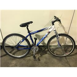 BLUE/WHITE GIANT 18-SPEED FRONT SUSPENSION MOUNTAIN BIKE (DAMAGE TO SHIFTER, CHAIN OFF,REAR TIRE