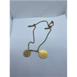 10K-22INCH GOLD COIN PENDANT WITH 18K ST. CHRISTOPHER PENDANT