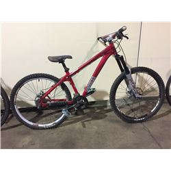 RED NORCO 18-SPEED FRONT SUSPENSION MOUNTAIN BIKE W/ FULL DISK BRAKES (CHAIN OFF, NO DERAILER)