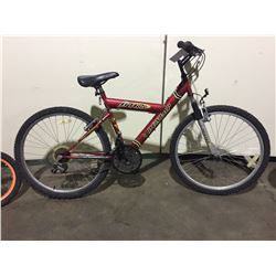 RED DUNLOP 21-SPEED FRONT SUSPENSION MOUNTAIN BIKE, SILVER RAZOR SINGLE SPEED FULL SUSPENSION  KIDS