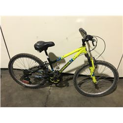 2 BIKES - BLACK GARNEAU 7-SPEED FRONT SUSPENSION MOUNTAIN BIKE, BLUE SUPERCYCLE SINGLE SPEED  FRONT