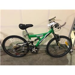 2 BIKES - GREEN RALEIGH 21-SPEED FULL SUSPENSION MOUNTAIN BIKE, BLUE CCM 21-SPEED FULL SUSPENSION