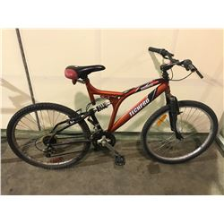 2 BIKES - RED TECHPRO 18-SPEED FULL SUSPENSION MOUNTAIN BIKE, GREY ALLEGRO 18-SPEED MOUNTAIN BIKE