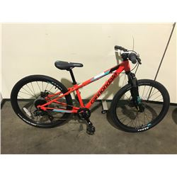 ORANGE CANNONDALE 8-SPEED FRONT SUSPENSION MOUNTAIN BIKE W/ FULL DISK BRAKES