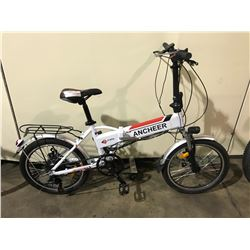 WHITE ANCHEER 7-SPEED FRONT SUSPENSION FOLDING E-BIKE ( RUNNING CONDITION UNKNOWN )