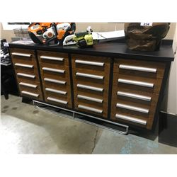 WOODGRAIN STEELMAN 7FT WORK BENCH WITH 20 DRAWERS, LOCK AND ANTI-SLIP LINERS