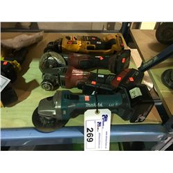 2 MILWAUKEE CORDLESS GRINDERS WITH BATTERIES & MAKITA CORDLESS GRINDER WITH BATTERY AND DEWALT