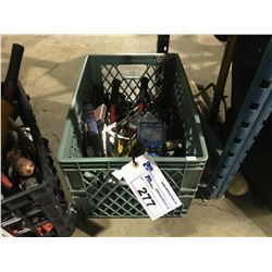 CRATE OF ASSORTED HAND TOOLS, VISE GRIOS & OBD 2 SCANNER & BOLT CUTTERS AND MORE