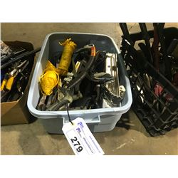 TOTE OF ASSORTED HAND TOOLS, ROPE  & SAWS AND MORE