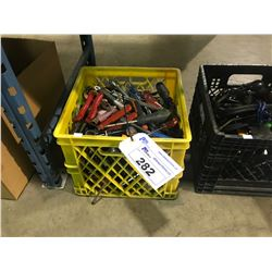 CRATE OF ASSORTED HAND TOOLS , SCREWDRIVERS & PLIERS & CRESCENT WRENCHES AND MORE