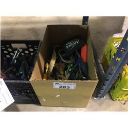 BOX OF ASSORTED HAND TOOLS BOLT CUTTERS & CRESCENT WRENCHES AND MORE