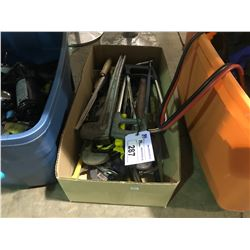 BOX OF ASSORTED SAWS & PIPE WRENCHES AND MORE
