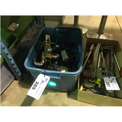 TOTE OF ASSORTED JACKS AND TRAILER HITCH  AND HAND TOOLS