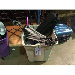 TOTE OF ASSORTED CAMERA TRIPODS  AND ELECTRONICS