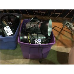 TOTE OF ASSORTED SOLAFLASH STAGE LIGHTS AND BATTERY BOOSTER