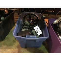TOTE OF ASSORTED PROLITE 82 STAGE LIGHTS & CUSTOM STEERING WHEEL AND MORE