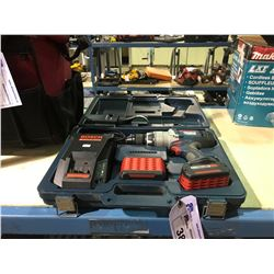 BOSCH LITHEON BRUTE 18V HAMMER DRILL WITH 2 BATTERIES & CHARGER AND TOOL CASE