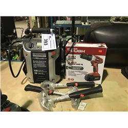 MOTOMASTER ELIMINATOR BOOSTER PACK WITH AIR COMPRESSOR & HYPER TOUGH 18V CORDLESS DRILL AND 3 CLAW