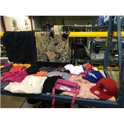 SHELF OF ASSORTED SIZE  BRAND NAME FEMALE SHIRTS & BLOUSES AND MORE