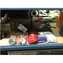 LOT OF ASSORTED FIRST AID KITS & DUFFLE BAG AND VINTAGE RADIO