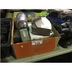 2 BOXES OF ASSORTED ELECTRONICS INCLUDES BOSE SOUND DOCK  & HYBRID DVR AND MORE