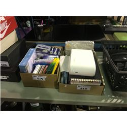 2 BOXES OF ASSORTED NOTEBOOKS, CRAYONS AND CREST WHITE STRIPS