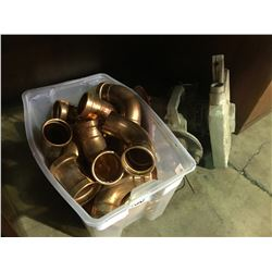 BIN OF COPPER ELBOWS AND BLACK AND DECKER RADIAL ARM SAW PARTS