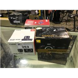 CANON EOS M100 DIGITAL CAMERA IN BOX NIKON D5600 DIGITAL CAMERA IN BOX & CANON 2 LENSE KIT