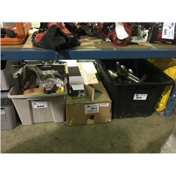 BIN OF ASSORTED STAINLESS EXHAUST PIPE PARTS & BIN OF MACHINE PARTS AND MORE