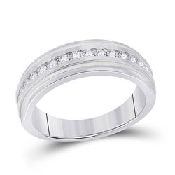 1/2 CTW Mens Round Diamond Wedding Single Row Band Ring 10kt White Gold - REF-68N2A