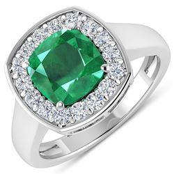 Natural 2.48 CTW Zambian Emerald & Diamond Ring 14K White Gold - REF-108T7H