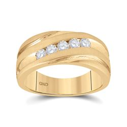 1/2 CTW Mens Round Diamond Diagonal Wedding Band Ring 10kt Yellow Gold - REF-99W2H